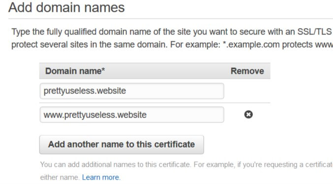 Adding domains to the certificate